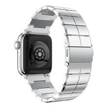 حزام ل أبل Watchband 38/40 مللي متر 42/44 مللي متر الفولاذ المقاوم للصدأ المعادن 1 ربط سوار Smartwatch الفرقة ل أبل ساعة Serise 1 2 3 4 5