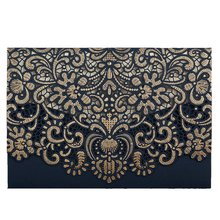 Gold Pattern Navy Blue Laser Cut Invitations, Printable Invites with Envelopes for Anniversary Holiday Housewarming Quinceanera