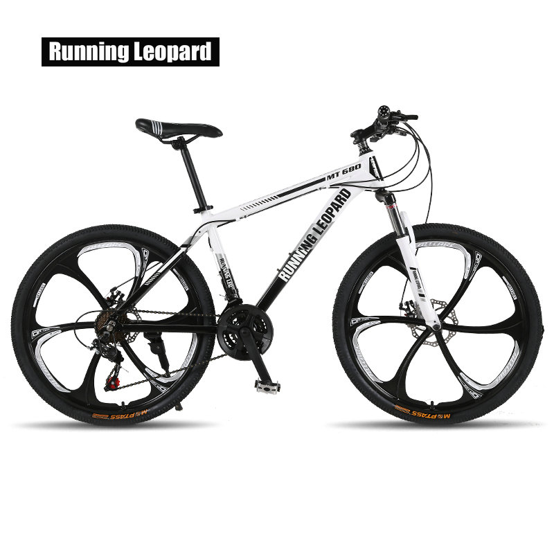 Running Leopard mountain bike 26 inch steel 21 speed bikes double disc brakes variable speed road