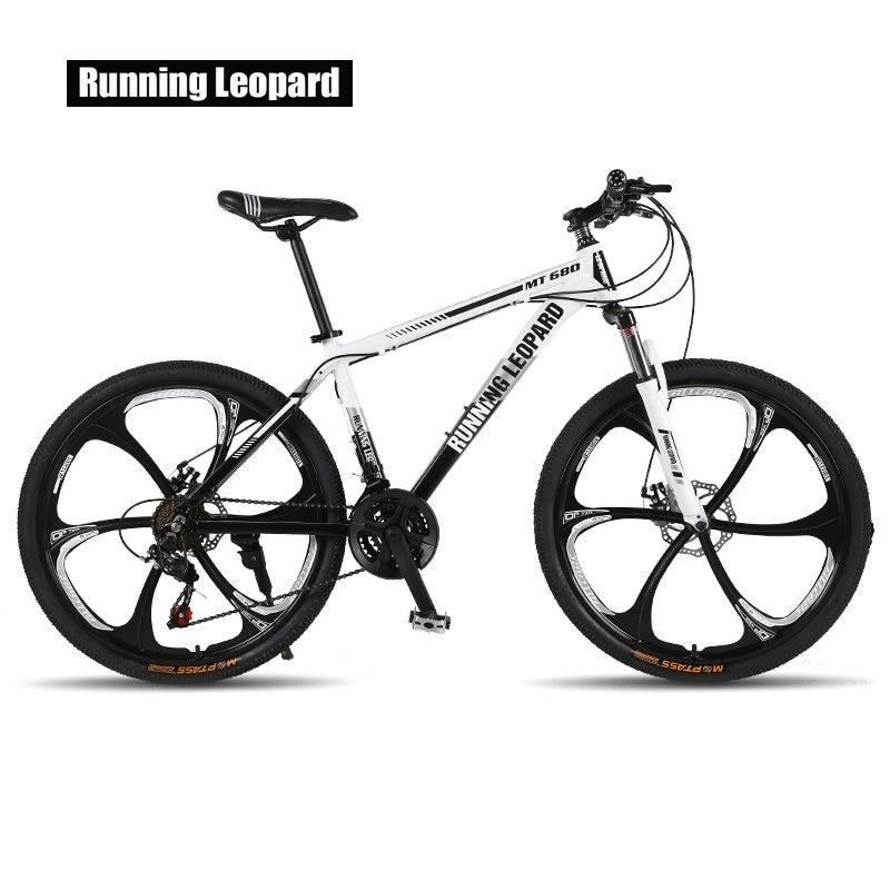 Running Leopard Mountain Bike 26-inch Steel 21-speed Bikes Double Disc Brakes Variable Speed Road Bikes Racing Bike