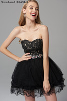 Sexy Black Cocktail Dress New Arrival Sweetheart Applique Lace Crystal Bead Short Party Dress vestido formal corto