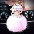 Hat Monchichi Key Chain Sleutelhanger Strass Keyring Fluffy Ribbit Fur Ball Pom Pom Women Bag Charm Porte Clef K002-lavender