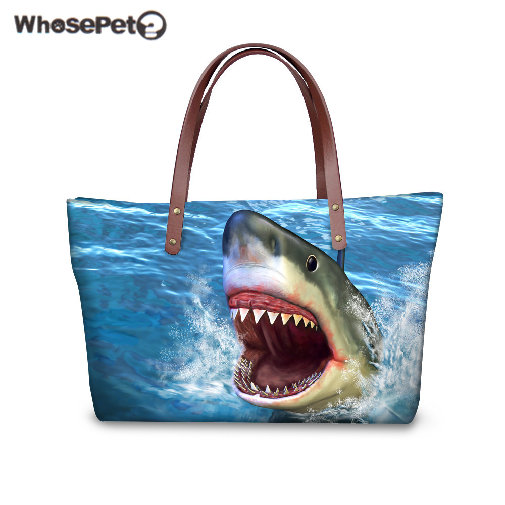 WHOSEPET Shoulder Bag Women Shark Dolphin Pattern Handbag Fashion Beach Bag Ladies Daily Clutch Bags Woman's Purse Tote Bags New 2017 120cm diy metal purse chain strap handle bag accessories shoulder crossbody bag handbag replacement fashion long chains new