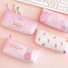 Pink pineapple PU leather Pencil Case transparent School Supplies Bts Stationery Gift School Cute Pencil Box Pencil Bag Tools pu pencil case quality school supplies bts stationery gift pencilcase school cute pencil box bts kawaii pencil bag school tools