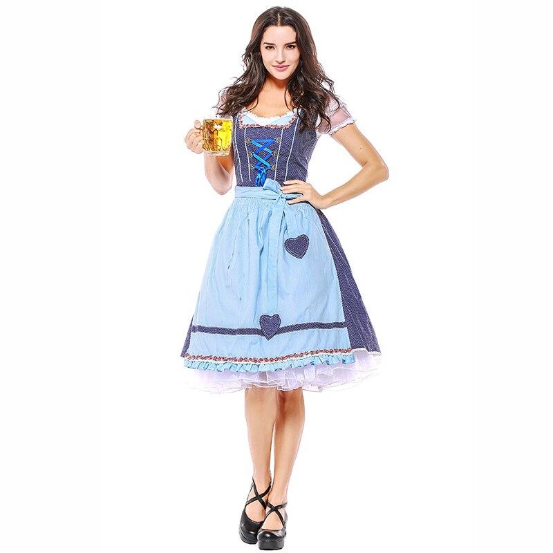 Bleu Dirnal Uniforme Sexy Bière Fille Costume Parti Bavarois Cosplay Déguisements Oktoberfest Outfit Halloween Costumes Pour Femmes