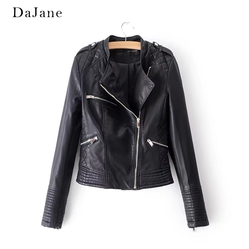 Women's Spring Autumn New Stand Collar long-sleeved Short Motorcycle Clothing   Leather   Jacket Jacket   Leather   Jacket Women