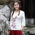 2017 New Style Ladies' Slim Cotton Linen Shirt Novelty Print Flower Blouse O-Neck Blusas Femininas S M L XL XL XXL XXXL 2618