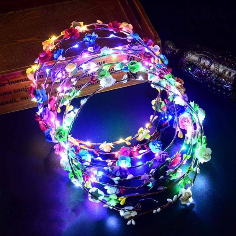 Party Crown Flower Headband LED Light Up Hair Wreath Hairband Garlands Christmas Neon Wreath Wedding Glowing Wreath Toy Gift
