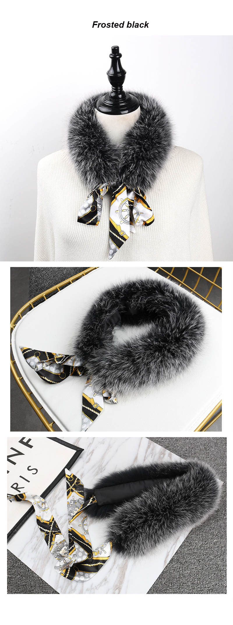 fox fur scarf with ribbon frosted black