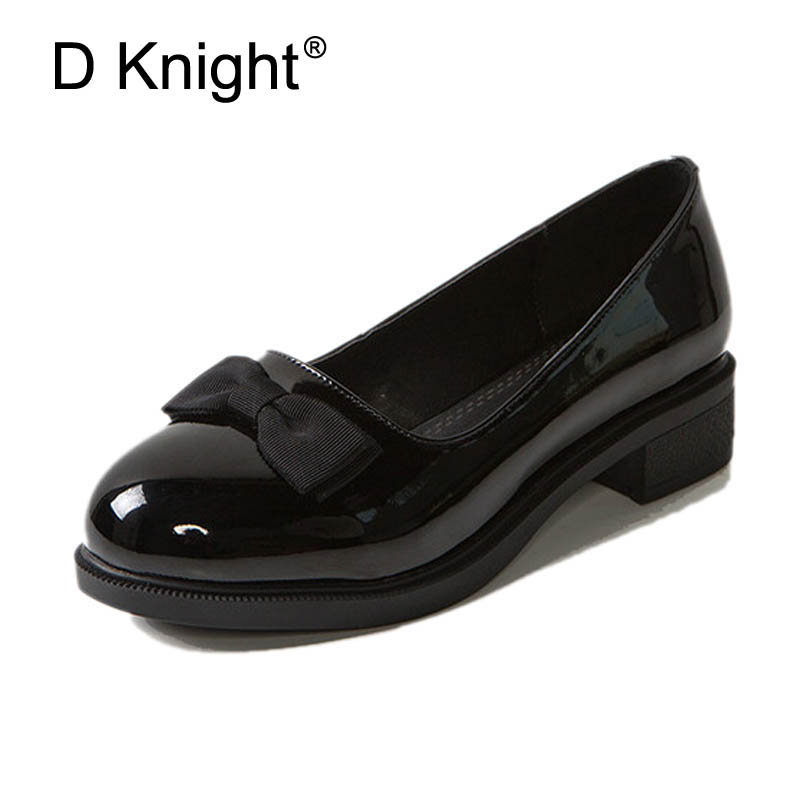 New Round Toe Slip on Women Loafers Fashion Bow Patent Leather Women Flat Shoes Ladies Casual Flats Black Wine Red Women Oxfords