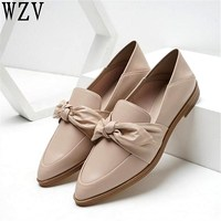 Flats British Style Oxford Shoes Women Spring Soft Leather bowknot Flat Heel Casual Shoes Pointed toe Lazy Womens Shoes C396