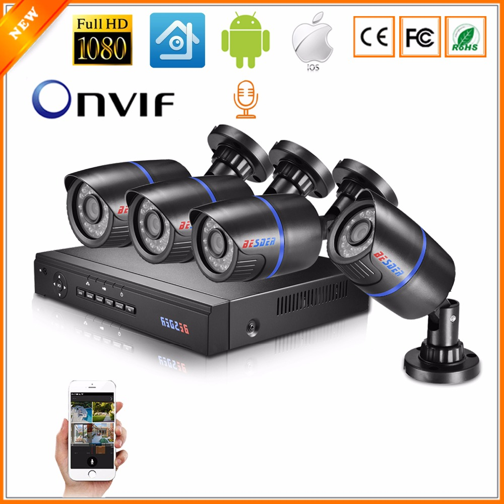 BESDER 4CH Audio CCTV Security POE System 1080P 2MP NVR Camera Surveillance POE Kit With HIDM
