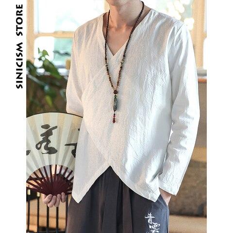 Sinicism Store Men Shirts 2019 Man Solid Belt Shirts Long Sleeve Shirts Casual Slim Fit Male Fashions Chinese Style Clothing Karachi