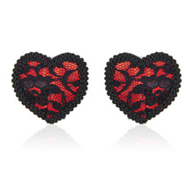 Silicone Red Lace Women Chest Nipple Heart Patches