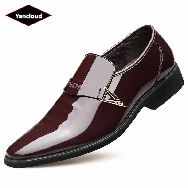 Pointed Toe Men s Formal Patent Leather Shoes Black Wedding Shoe 2019  Spring Slip on Dress Shoes 649164820a84