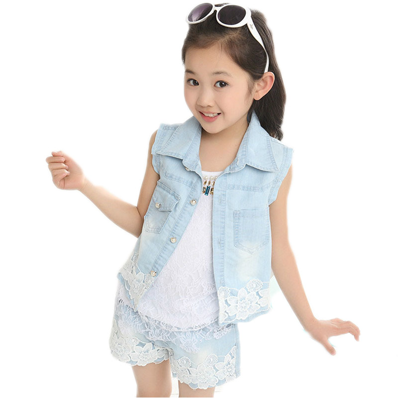 girls summer clothes 2017 baby girl clothes sets turn down collar sleeveless denim cute lace vest+shorts 2pcs kids clothes sets retail kids 2017 baby girls clothes summer girls clothing sets kids clothes girl denim t shirts denim shorts sets 2 6 years 2