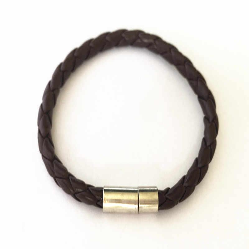 2 pçs/lote 5 milímetros café e cor preta (8 polegadas) faux couro trançado pulseira pingente cadeia de acessórios
