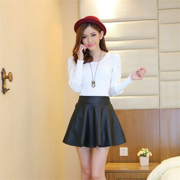Aliexpress.com : Buy 2017 Korean Fashion Solid PU Leather Skirt ...