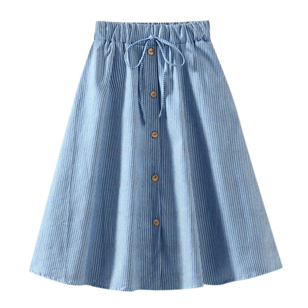 MAXIORILL 2019 nuevas faldas de mezclilla A-Line de cintura alta a rayas de longitud media y cintura alta al por mayor envío gratis T44