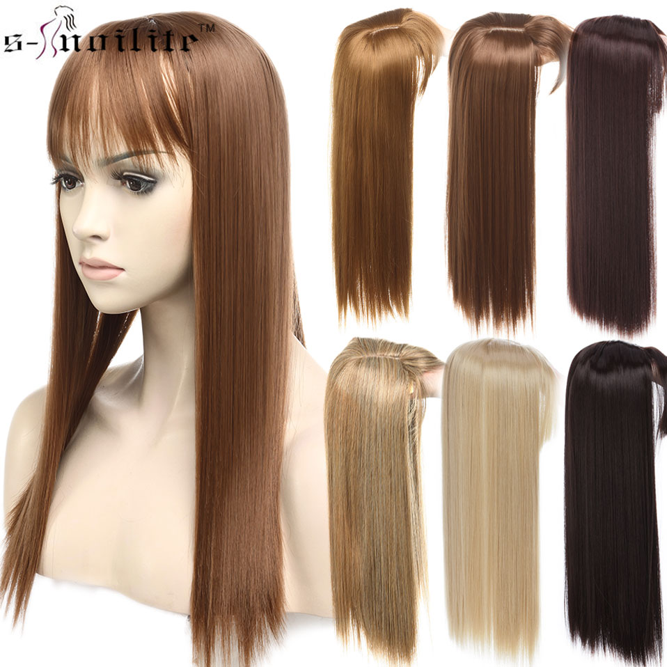 SNOILITE 17inch Topper Toupee Hairpiece Clip In One Piece Hair Extension Synthetic Hair With Bangs For Women 8 Color