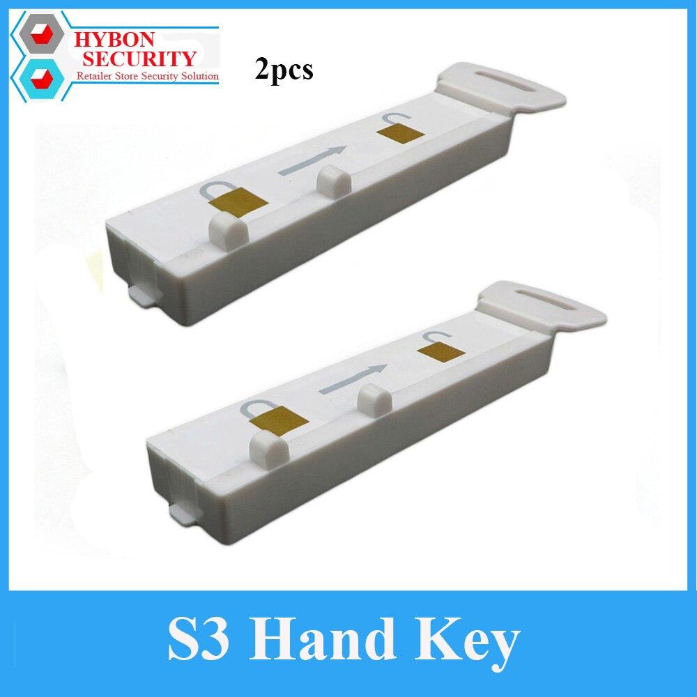 2 pçs/lote S3 Magnaetic Handkey Eas Exibição Gancho Detacheur s3 Sensor de Chave para Bloqueio De Paragem de Segurança Aranha Envoltório Gancho Destacador