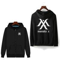 zip bts Monsta X hoodies womens zipper korean hoodie harajuku women clothes streetwear winter hoody 2019 woman fleece hoddies