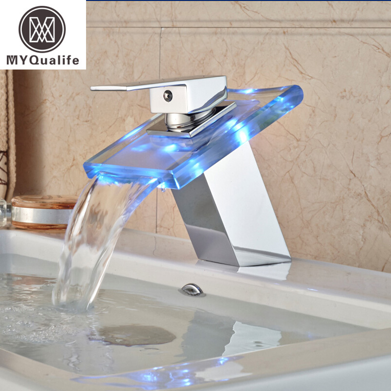 Luxury Free Shipping LED Color Changing Basin Faucet Bathroom Deck Mount Waterfall Glass Mixer Taps Chrome Finish