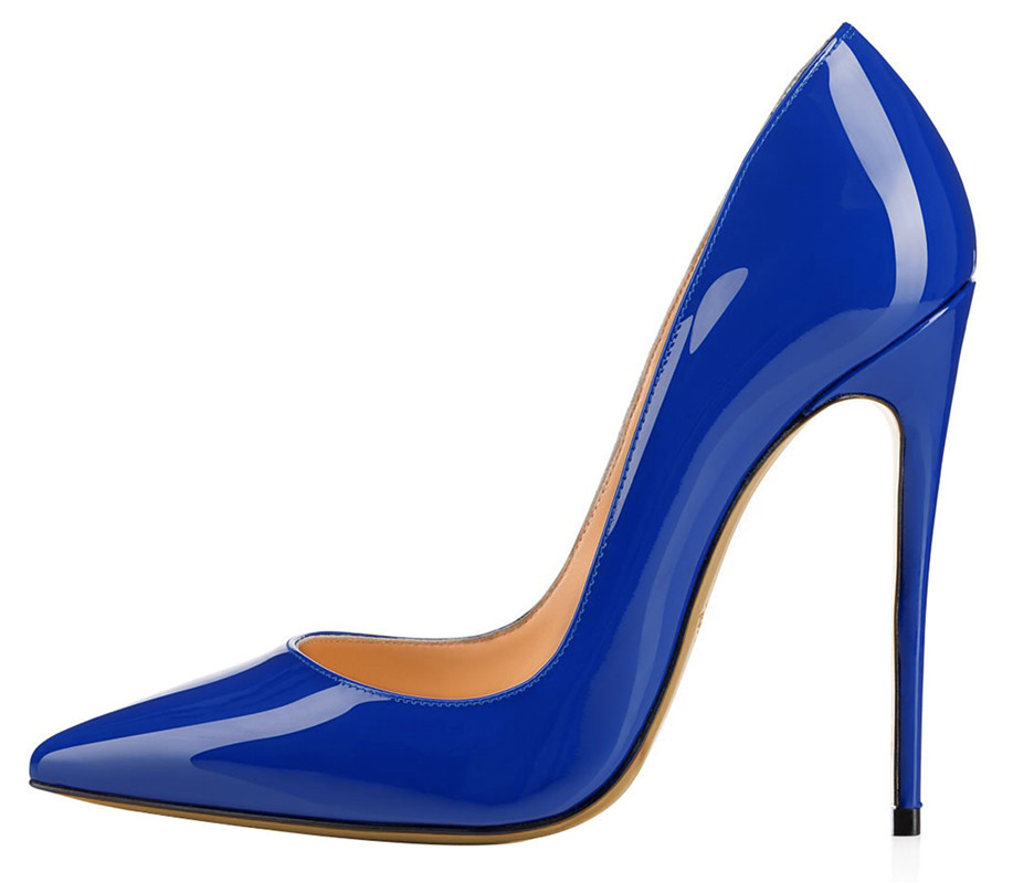 OKHOTCN 8.5 10 12Cm Royal Blue Patent Leather Brand Womens Shoes High Heels  Sexy Pointed Toe Shoes Woman Extreme High Heel Pumps 45a10ec714e1
