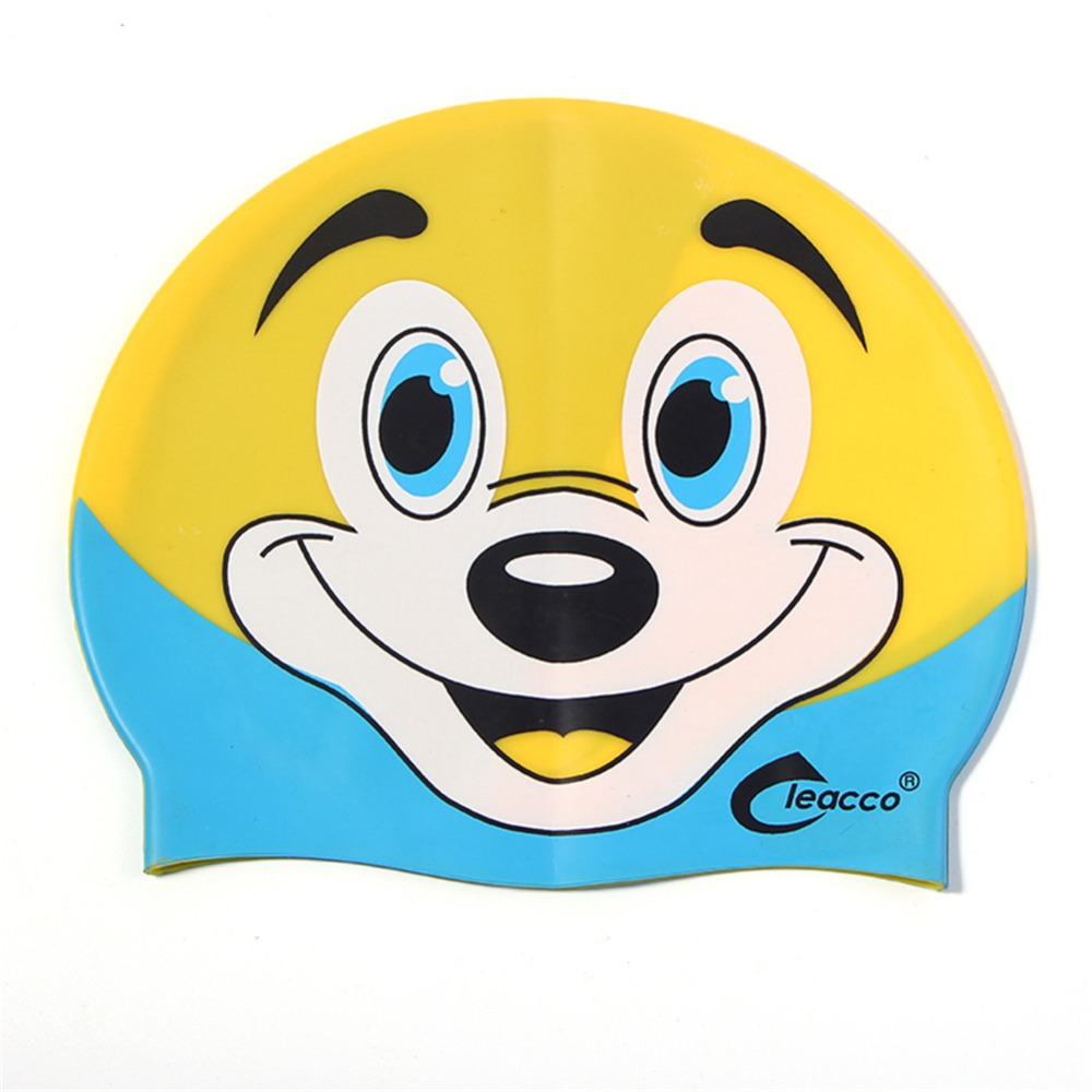 Lovely silicone swimming cap for Children kids Girls Boys Adults Cartoon swim caps Waterproof hat in pool Diving Swimming hat