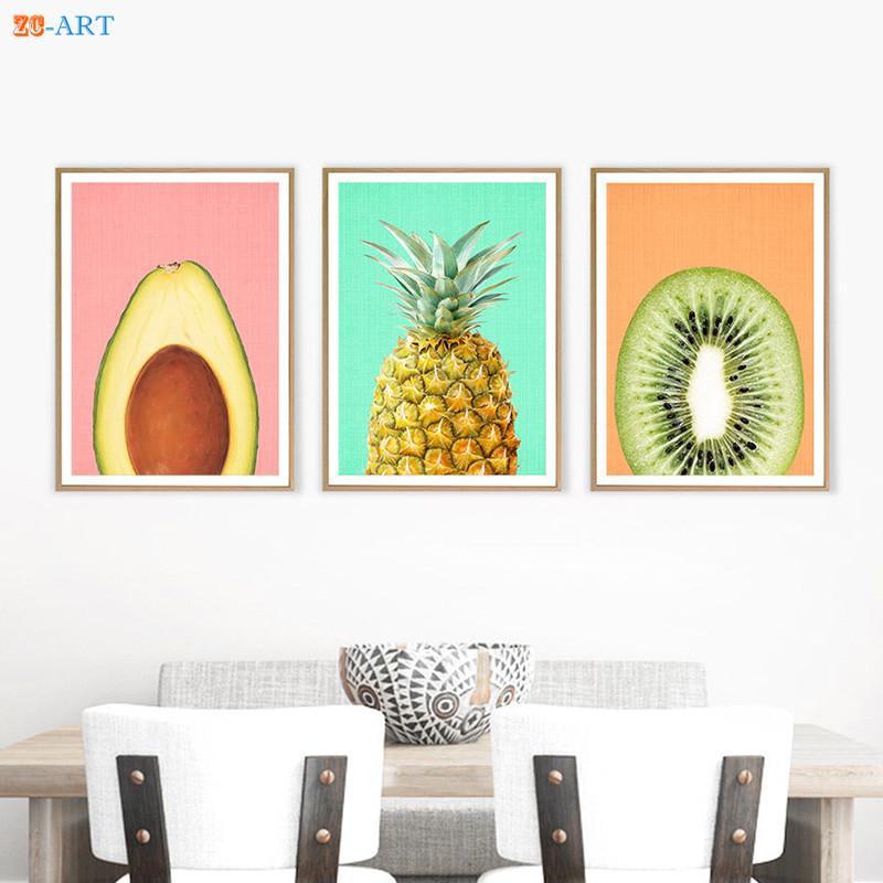 US $4.32 28% OFF|Avocado Kiwi Fruit Pineapple Prints Kitchen Wall Art  Tropical Fruit Decor Modern Minimalist Canvas Painting Kids Room Framed-in  ...