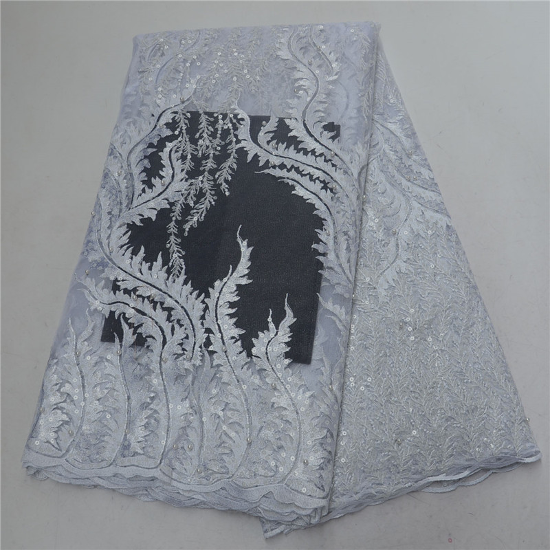 New White African Sequins Lace Fabric 2019 Nigerian Embroidered Lace Fabric High Quality Tulle Laces Fabrics