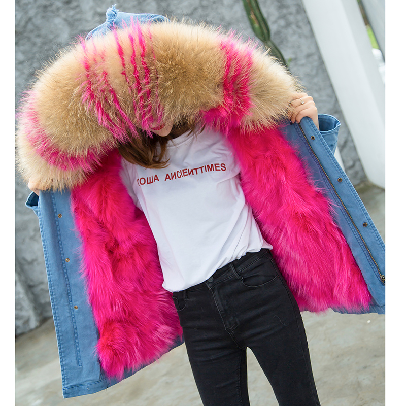 2017 New Fox Fur Liner Female Winter Raccoon Fur Coat  Slim Thick Casual Middle Long Jacket Winter Parka Women Padded Jacket winter parka coat 2017 new women raccoon fur collar rabbit fur parka liner female long section warm thick outwear qw631
