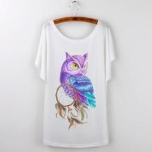 Owl Animal Print Harajuku 2018 Summer Top Loose Tshirt Women T shirt Lady Tops Short Sleeve