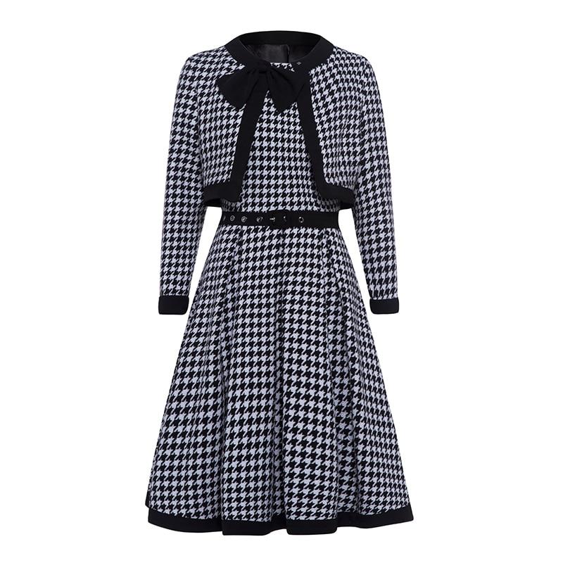Women Plaid Vintage Dress Elegant Autumn Summer Two Pieces 50s Fashion Retro Bow Office Ladies A Line Casual Midi Dresses