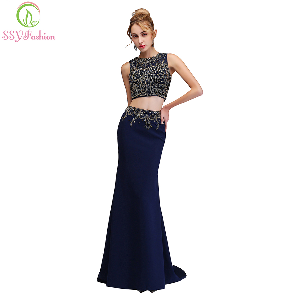 b92824e4d1ed SSYFashion New High-end Mermaid Evening Dress The Bride Banquet Luxury Navy  Blue Beading Two-piece Fishtail Party Formal Gown
