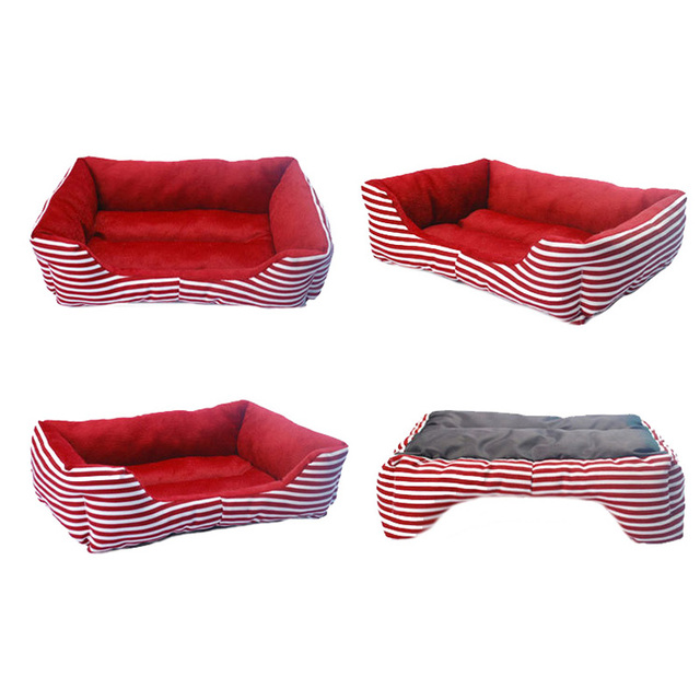 Fashion Striped Small Dog Beds Canvas Fleece Warm Winter Cat Bed Waterproof Bottom Dog Sofa Beds