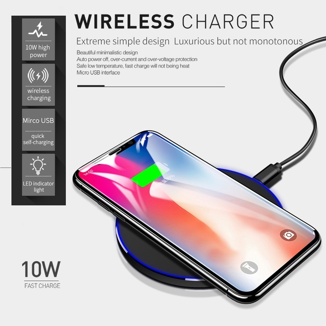 DCAE Qi Wireless Charger For iPhone 8 X XR XS Max QC3.0 10W Fast Wireless Charging for Samsung S9 S8 Note 9 S10 USB Charger Pad 1