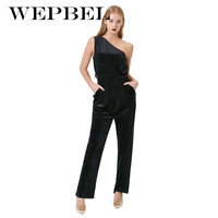 Wepbel Fashion One Shoulder Women Jumpsuit Sexy Sleeveless Velvet Long Celebrity Cocktail Party Jumpsuits