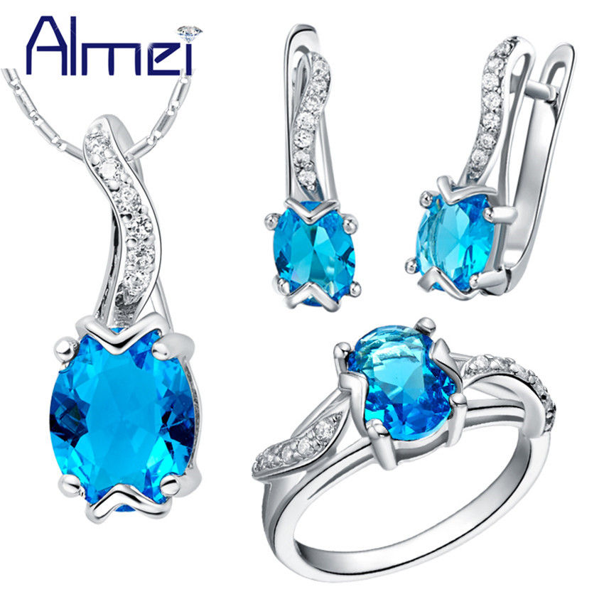 Almei 40% Off Jewelry Set 925 Sterling Silver Zircon Bijoux Cute Red Crystal Wedding Accessories Party Ring For Women Female T232