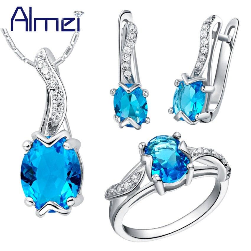 Almei 50% sleva na bižuterní soupravy stříbrná modrá krychlová zirkonia svatební doplňky náhrdelník a náušnice prsteny ženy Bisuteria T232