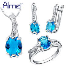 Almei 50%Off Costume Jewelry Set Silver Blue Cubic Zirconia Wedding Accessories Necklace And Earring Rings Women Bisuteria T232