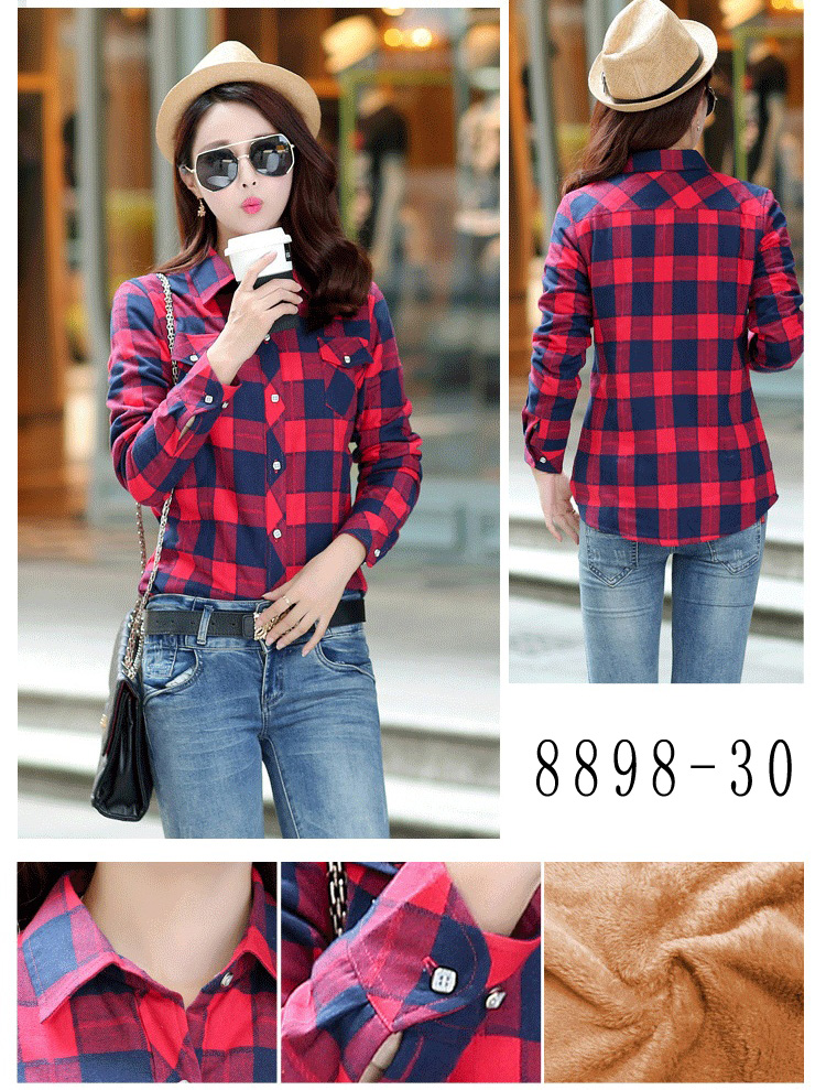 HTB1  pRRVXXXXXkXpXXq6xXFXXXx - Velvet Thick Warm Women's Plaid Shirt Female Long Sleeve