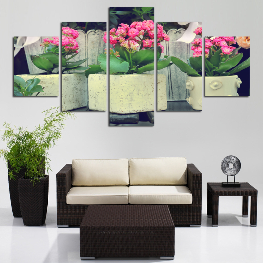 HD Painting Fashionable Art Pot Flower Canvas Image For