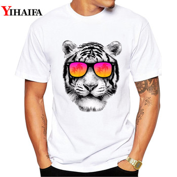 цены Men T Shirt Stylish Tee gym Tiger Print T-Shirts Pullover Short Sleeve Creative Hip Hop Casual White Tops