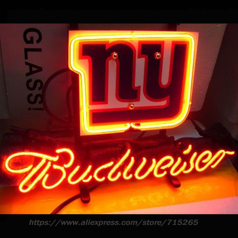 Neon Sign NFL NEW YORkK GIANTS FOOTBALL Beer Pub Store Display Neon Light Sign Arcade handcraft Glass Tube Board Publicidad 13x8 led neon open sign for shop cafe bar pub with 12v ultra bright led neon flexible light tube customized diy led advertising light