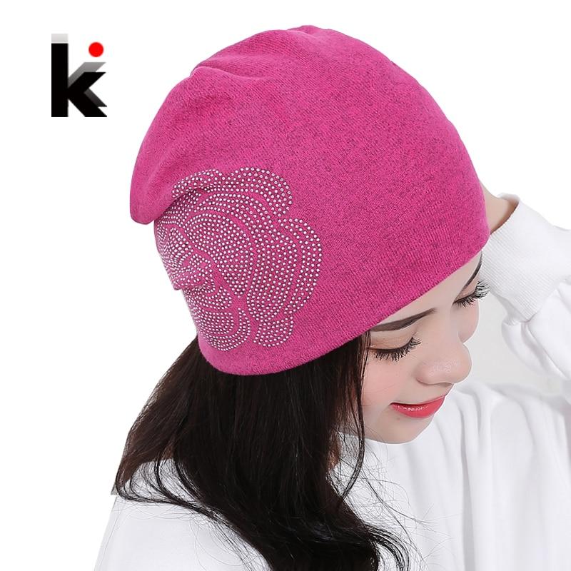 c5faec2b72c Womens Beanie Autumn And Winter Brand Knitted Hat Turban Flowers Diamond  Skullies Hip hop Cap Ladies Lnit Hats For Women Beanies-in Skullies    Beanies from ...