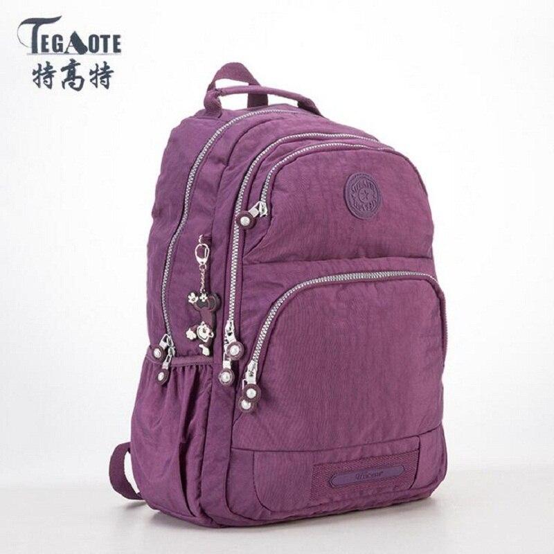 TEGAOTE School Backpack for Teenage Girls Nylon Casual Mochila Feminina Backpacks Women Solid Brand Laptop Bagpack Female