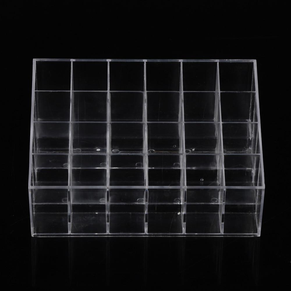 24Grid Transparent Lipstick Clear Acrylic Display Stand Cosmetic Storage Box Makeup Organizer Jewelry Storage Box