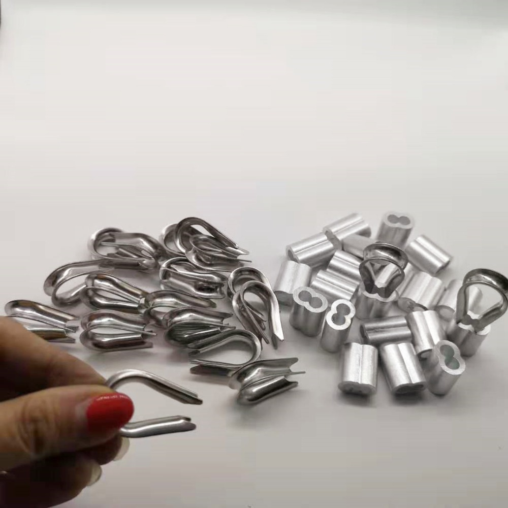 20pcs Diameter 10mm M10 Sleeves Aluminium Oval Double Hole And 20pcs Thimble Rope For Crimping Wire Rope