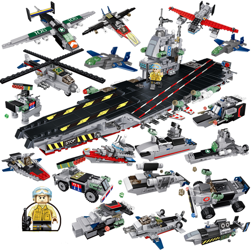 Military Building Blocks 8 In 1 Aircraft Vehicle Boat Carrier Helicopter Car Weapon WW2 Compatible LegoINGlys Military Army Toy enlighten 1406 8 in 1 combat zones military army cars aircraft carrier weapon building blocks toys for children